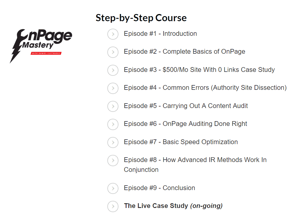 The course is split into several sections, covering everything from basic OnPage to advanced IR to evaluating common errors SEOs miss(OnPage Mastery)